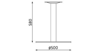 Wymiary podstawy stołu Lara Inox 580 Nowy Styl