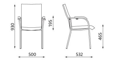 Wymiary krzesła Loco II Click chrome Nowy Styl