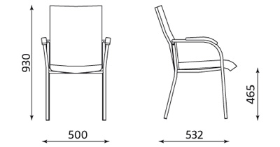 Wymiary krzesła Loco II 4L Nowy Styl