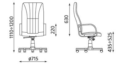 Wymiary fotela biurowego gabinetowego Mefisto TS06 Nowy Styl