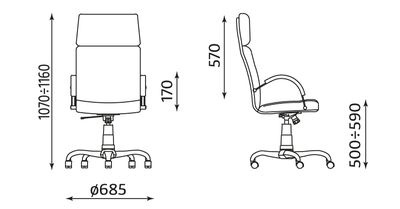 Wymiary fotela Nadir ST02-CR Nowy Styl