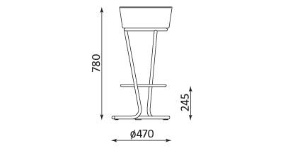 Wymiary stołka barowego Pinacolada chrome Nowy Styl