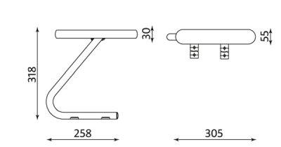 Wymiary podłokietnika do krzesła CONECT II chrome Nowy Styl