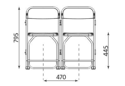 Wymiary krzesła Polyfold Click Alu Nowy Styl