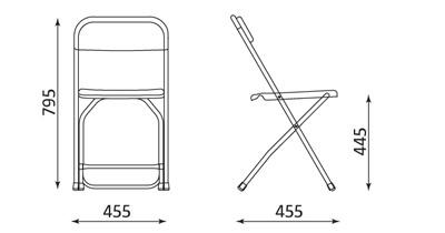 Wymiary krzesła Polyfold Nowy Styl