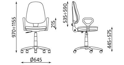 Wymiary krzesła biurowego Prestige Profil GTP13 Nowy Styl