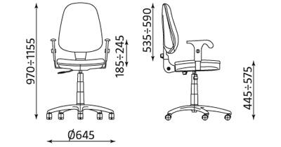 Wymiary krzesła biurowego Prestige Profil R3D ts02 CPT Nowy Styl