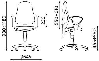 Wymiary krzesła biurowego Punkt Ergo GTP 47 TS02 Ergon 2L Nowy Styl