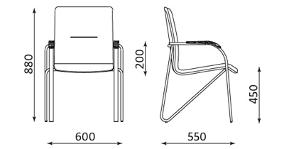 Wymiary krzesła Samba 4L-ARM CR Nowy Styl