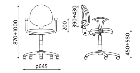 Wymiary krzesła biurowego Regal White GTP CPT Nowy Styl