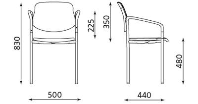 Wymiary krzesła Styl Arm Nowy Styl