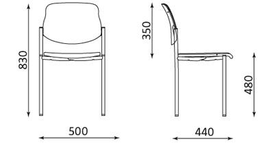 Wymiary krzesła Styl CR Nowy Styl