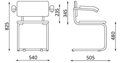 Wymiary krzesła Sylwia S ARM Nowy Styl