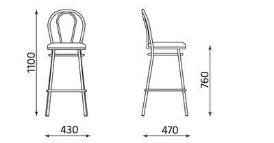 Wymiary stołka barowego Tulipan Hocker Nowy Styl