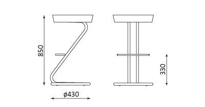 Wymiary stołka barowego Zeta chrome Nowy Styl