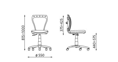 Wymiary krzesła Ministyle GTS ts22 Nowy Styl