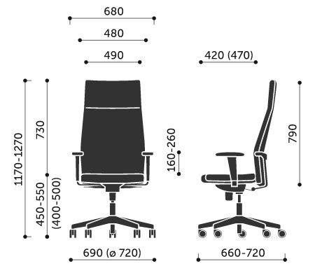 Wymiary fotel biurowego Active 11SL Profim