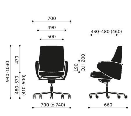 Wymiary fotel biurowego Format 20SL Profim