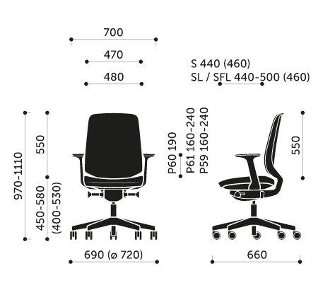 Wymiary krzesła obrotowego LightUp 230SFL Profim