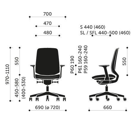 Wymiary krzesła obrotowego LightUp 250S Profim