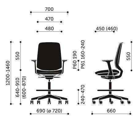 Wymiary krzesła obrotowego LightUp 350ST Profim