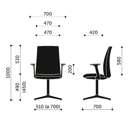 Wymiary krzesła konferencyjnego Motto 10F Profim