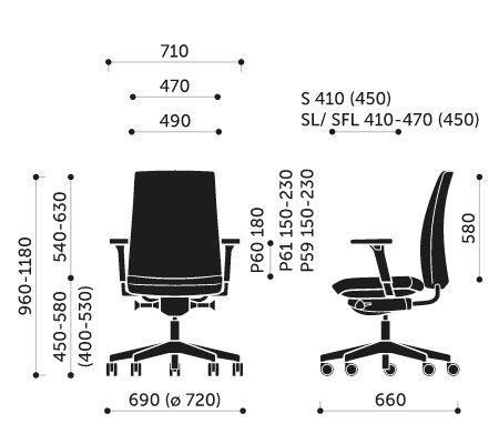 Wymiary krzesła obrotowego Motto 10SFL Profim