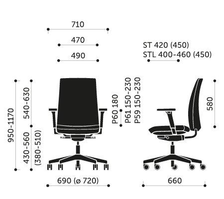 Wymiary krzesła obrotowego Motto 10STL Profim
