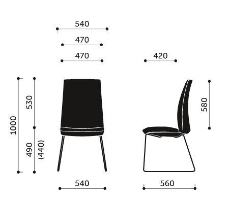 Wymiary krzesła konferencyjnego Motto 10V3 Profim