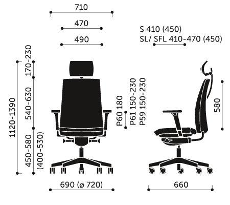 Wymiary krzesła obrotowego Motto 11SFL Profim