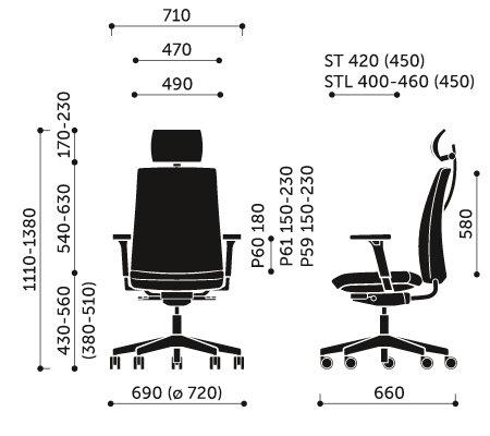 Wymiary krzesła obrotowego Motto 11STL Profim