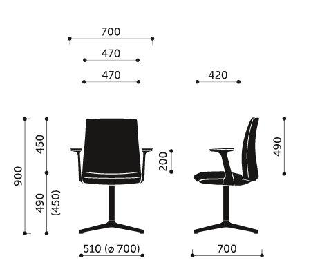 Wymiary krzesła konferencyjnego Motto 20F Profim