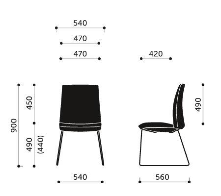 Wymiary krzesła konferencyjnego Motto 20V3 Profim