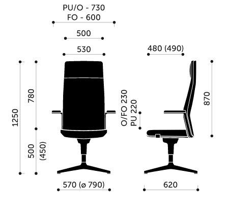 Wymiary fotel biurowego MyTurn 10F Profim