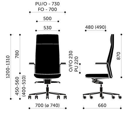 Wymiary fotel biurowego MyTurn 10S Profim