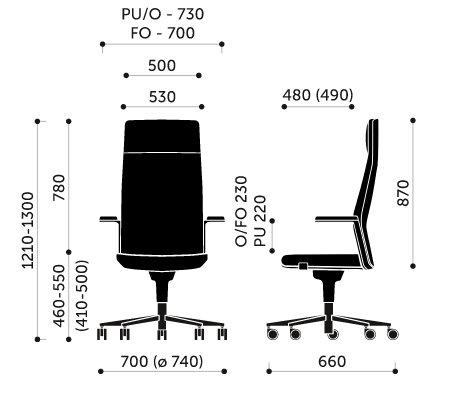 Wymiary fotel biurowego MyTurn 20Z Profim