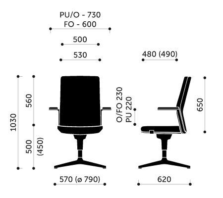 Wymiary fotel biurowego MyTurn 20FZ Profim