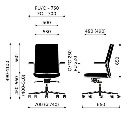 Wymiary fotel biurowego MyTurn 20S Profim