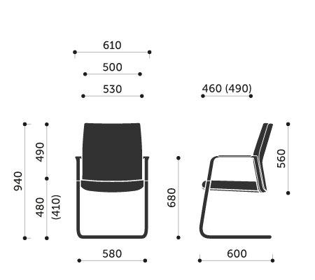 Wymiary fotel biurowego MyTurn 21V Profim