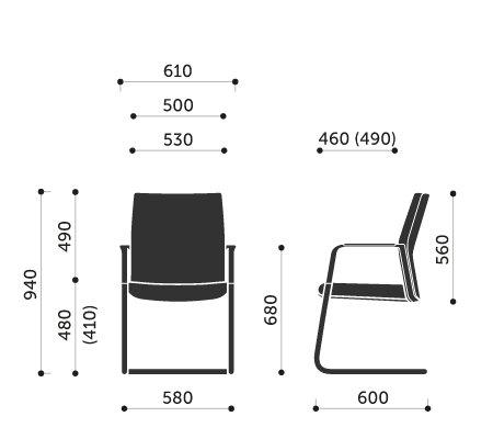 Wymiary fotel biurowego MyTurn 21VN Profim