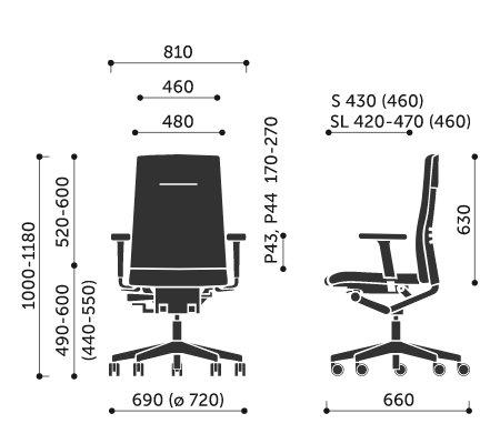 Wymiary fotela obrotowego One 11SL Profim