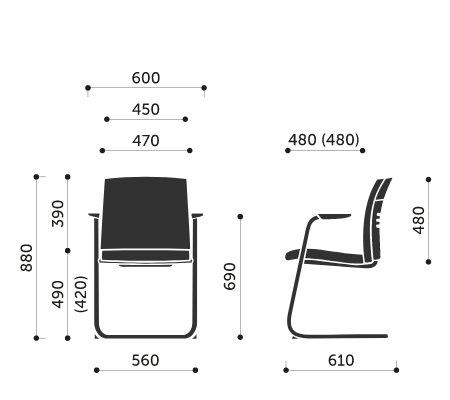 Wymiary fotela konferencyjnego One 21V Profim