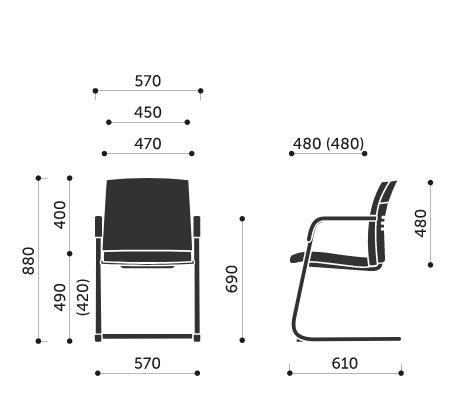 Wymiary fotela konferencyjnego One 21VN Profim