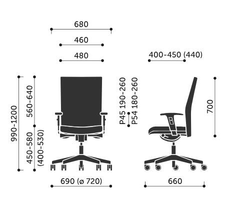 Wymiary krzesła obrotowego Playa 11SL Profim
