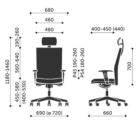 Wymiary krzesła obrotowego Playa 12SL Profim