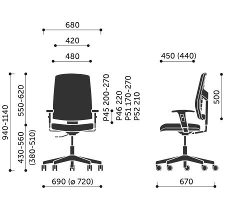Wymiary krzesła obrotowego Raya 21E Profim