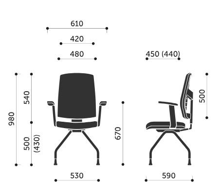 Wymiary krzesła konferencyjnego Raya 21H Profim