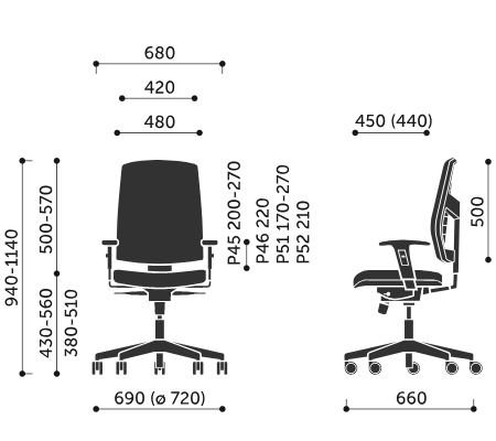 Wymiary krzesła obrotowego Raya 21S Profim