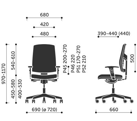 Wymiary krzesła obrotowego Raya 21SL Profim