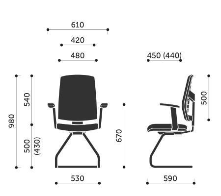 Wymiary krzesła konferencyjnego Raya 23V Profim